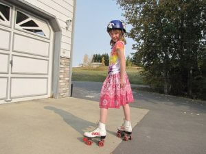 girl skating outside
