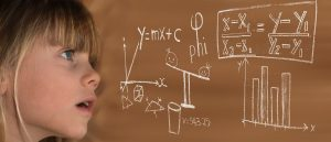 Young girls with scientific graphs and equations